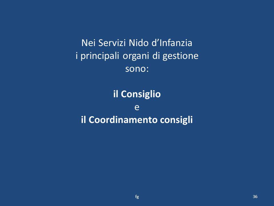 Nei Servizi Nido d'Infanzia i principali organi di gestione sono: il Consiglio e il Coordinamento consigli 36fg