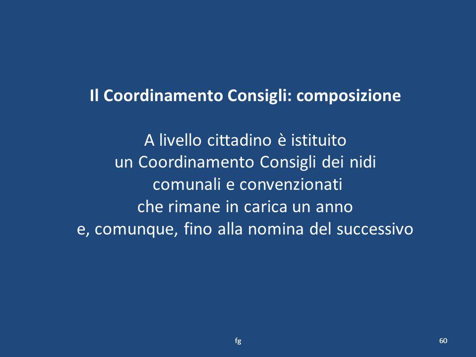 Il Coordinamento Consigli: composizione A livello cittadino è istituito un Coordinamento Consigli dei nidi comunali e convenzionati che rimane in carica un anno e, comunque, fino alla nomina del successivo 60fg