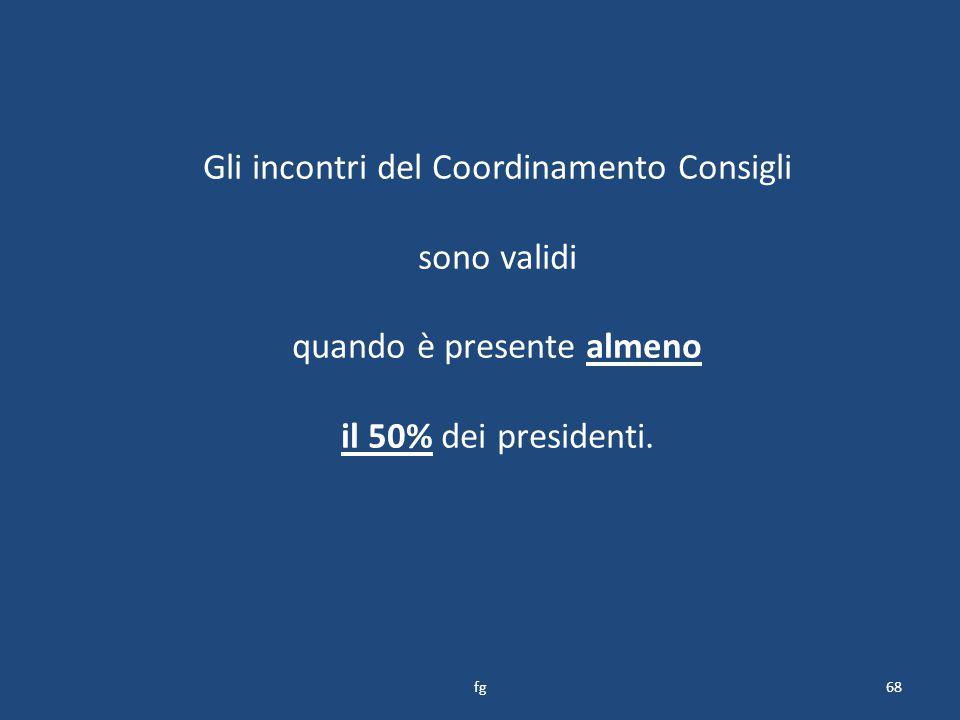 Gli incontri del Coordinamento Consigli sono validi quando è presente almeno il 50% dei presidenti.