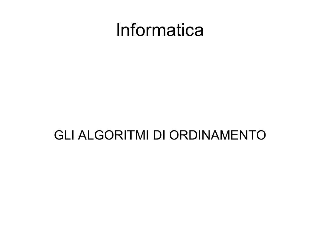 Informatica GLI ALGORITMI DI ORDINAMENTO