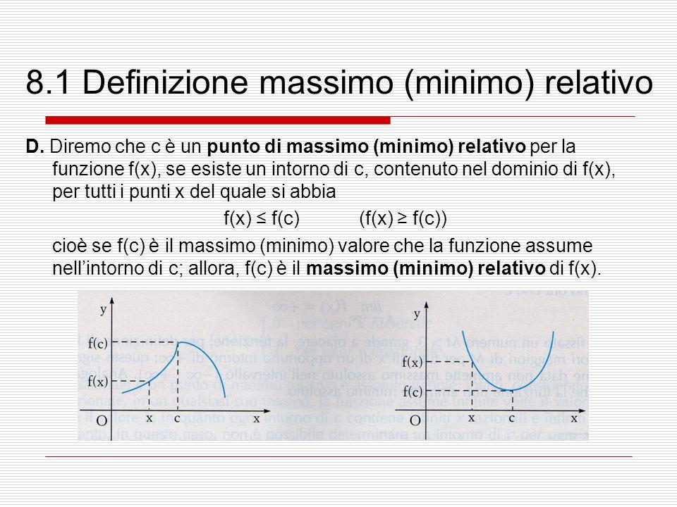 8.1 Definizione massimo (minimo) relativo D. Diremo che c è un punto di massimo (minimo) relativo per la funzione f(x), se esiste un intorno di c, con