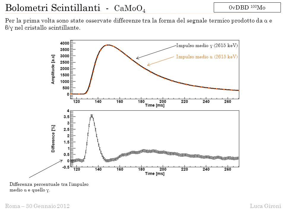 Luca GironiRoma – 30 Gennaio 2012 Per la prima volta sono state osservate differenze tra la forma del segnale termico prodotto da α e β/γ nel cristallo scintillante.