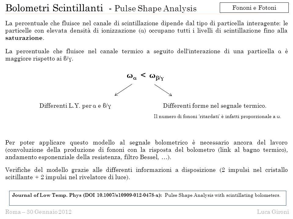 Luca GironiRoma – 30 Gennaio 2012 Bolometri Scintillanti - Pulse Shape Analysis La percentuale che fluisce nel canale di scintillazione dipende dal tipo di particella interagente: le particelle con elevata densità di ionizzazione (α) occupano tutti i livelli di scintillazione fino alla saturazione.