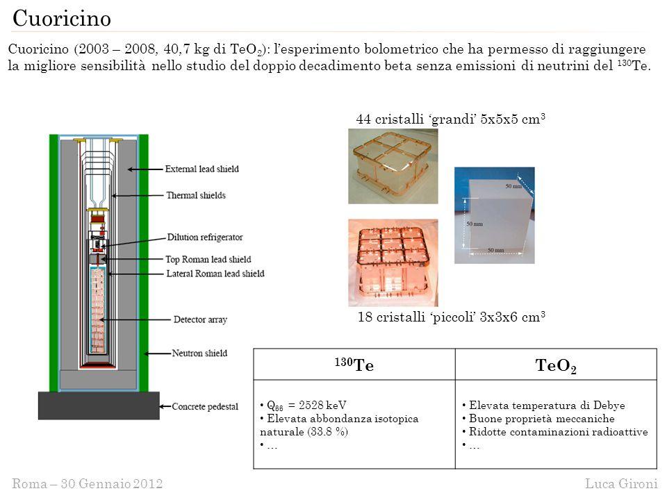 Luca GironiRoma – 30 Gennaio 2012 Cuoricino Cuoricino (2003 – 2008, 40,7 kg di TeO 2 ): l'esperimento bolometrico che ha permesso di raggiungere la migliore sensibilità nello studio del doppio decadimento beta senza emissioni di neutrini del 130 Te.