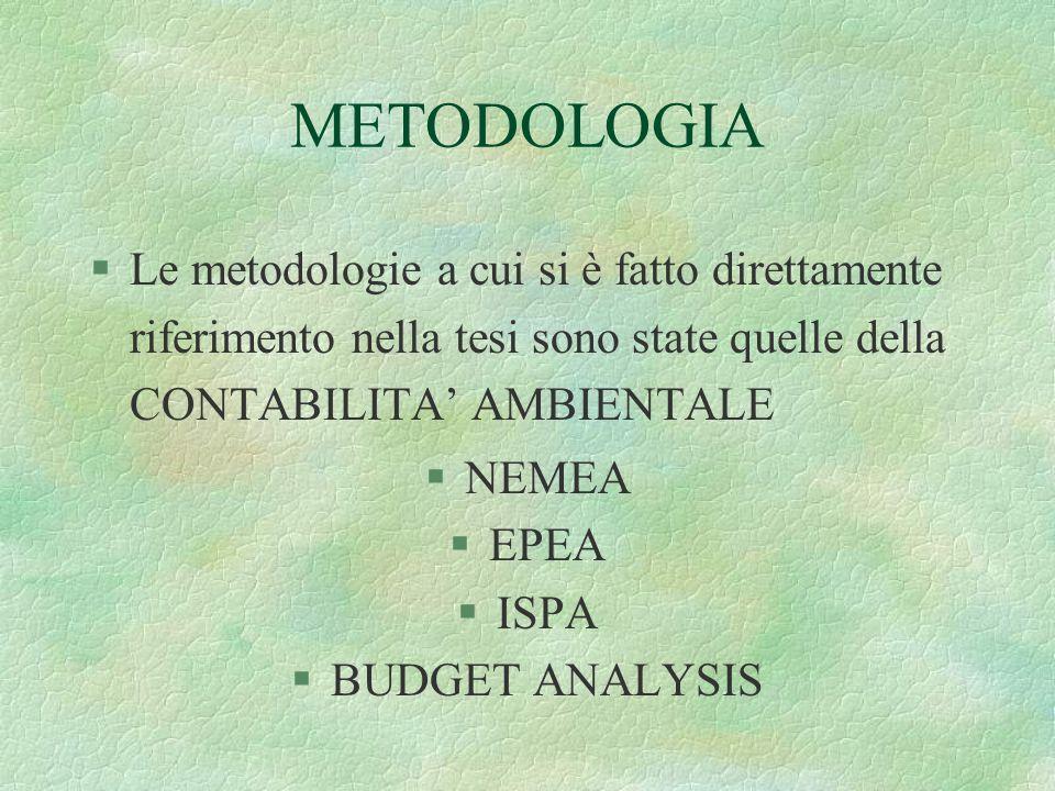 STRUMENTO ADOTTATO §Riclassificazione del bilancio, utilizzando come informazioni di partenza i rendiconti finanziari dell'Ente Parco riferiti: §1998