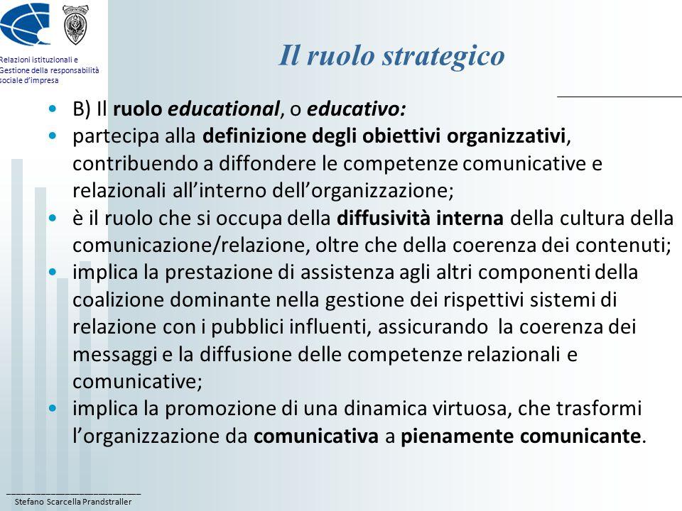 ____________________________ Stefano Scarcella Prandstraller Relazioni istituzionali e Gestione della responsabilità sociale d'impresa Il ruolo strategico B) Il ruolo educational, o educativo: partecipa alla definizione degli obiettivi organizzativi, contribuendo a diffondere le competenze comunicative e relazionali all'interno dell'organizzazione; è il ruolo che si occupa della diffusività interna della cultura della comunicazione/relazione, oltre che della coerenza dei contenuti; implica la prestazione di assistenza agli altri componenti della coalizione dominante nella gestione dei rispettivi sistemi di relazione con i pubblici influenti, assicurando la coerenza dei messaggi e la diffusione delle competenze relazionali e comunicative; implica la promozione di una dinamica virtuosa, che trasformi l'organizzazione da comunicativa a pienamente comunicante.