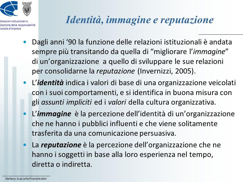 ____________________________ Stefano Scarcella Prandstraller Relazioni istituzionali e Gestione della responsabilità sociale d'impresa Identità, immagine e reputazione Dagli anni '90 la funzione delle relazioni istituzionali è andata sempre più transitando da quella di migliorare l'immagine di un'organizzazione a quello di sviluppare le sue relazioni per consolidarne la reputazione (Invernizzi, 2005).