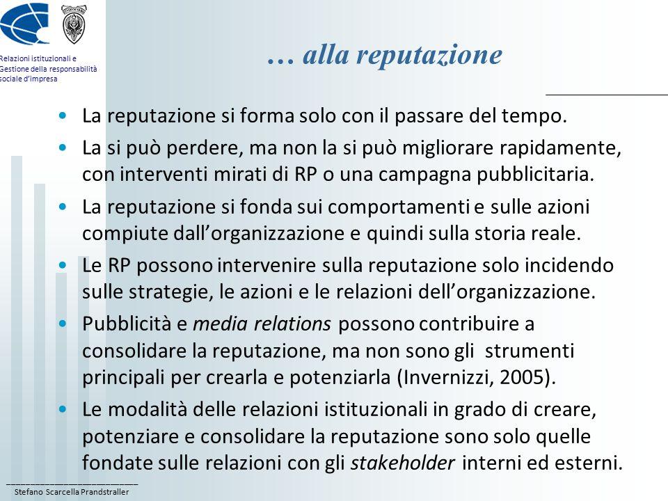 ____________________________ Stefano Scarcella Prandstraller Relazioni istituzionali e Gestione della responsabilità sociale d'impresa … alla reputazi