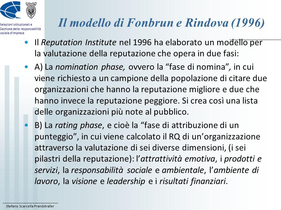 ____________________________ Stefano Scarcella Prandstraller Relazioni istituzionali e Gestione della responsabilità sociale d'impresa Il modello di Fonbrun e Rindova (1996) Il Reputation Institute nel 1996 ha elaborato un modello per la valutazione della reputazione che opera in due fasi: A) La nomination phase, ovvero la fase di nomina , in cui viene richiesto a un campione della popolazione di citare due organizzazioni che hanno la reputazione migliore e due che hanno invece la reputazione peggiore.