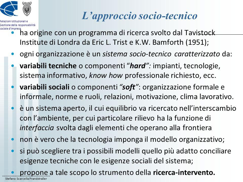 ____________________________ Stefano Scarcella Prandstraller Relazioni istituzionali e Gestione della responsabilità sociale d'impresa L'approccio socio-tecnico ha origine con un programma di ricerca svolto dal Tavistock Institute di Londra da Eric L.