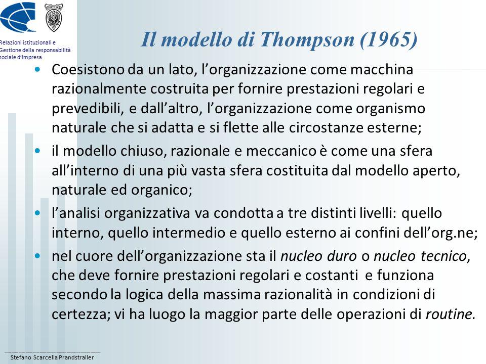 ____________________________ Stefano Scarcella Prandstraller Relazioni istituzionali e Gestione della responsabilità sociale d'impresa Il modello di Thompson (1965) Coesistono da un lato, l'organizzazione come macchina razionalmente costruita per fornire prestazioni regolari e prevedibili, e dall'altro, l'organizzazione come organismo naturale che si adatta e si flette alle circostanze esterne; il modello chiuso, razionale e meccanico è come una sfera all'interno di una più vasta sfera costituita dal modello aperto, naturale ed organico; l'analisi organizzativa va condotta a tre distinti livelli: quello interno, quello intermedio e quello esterno ai confini dell'org.ne; nel cuore dell'organizzazione sta il nucleo duro o nucleo tecnico, che deve fornire prestazioni regolari e costanti e funziona secondo la logica della massima razionalità in condizioni di certezza; vi ha luogo la maggior parte delle operazioni di routine.
