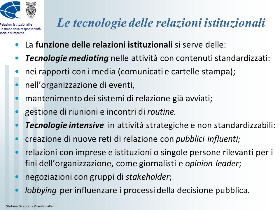____________________________ Stefano Scarcella Prandstraller Relazioni istituzionali e Gestione della responsabilità sociale d'impresa Le tecnologie d