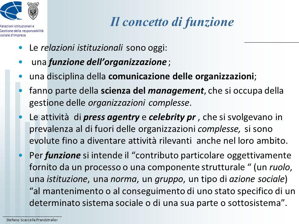 ____________________________ Stefano Scarcella Prandstraller Relazioni istituzionali e Gestione della responsabilità sociale d'impresa Il concetto di funzione Le relazioni istituzionali sono oggi: una funzione dell'organizzazione ; una disciplina della comunicazione delle organizzazioni; fanno parte della scienza del management, che si occupa della gestione delle organizzazioni complesse.