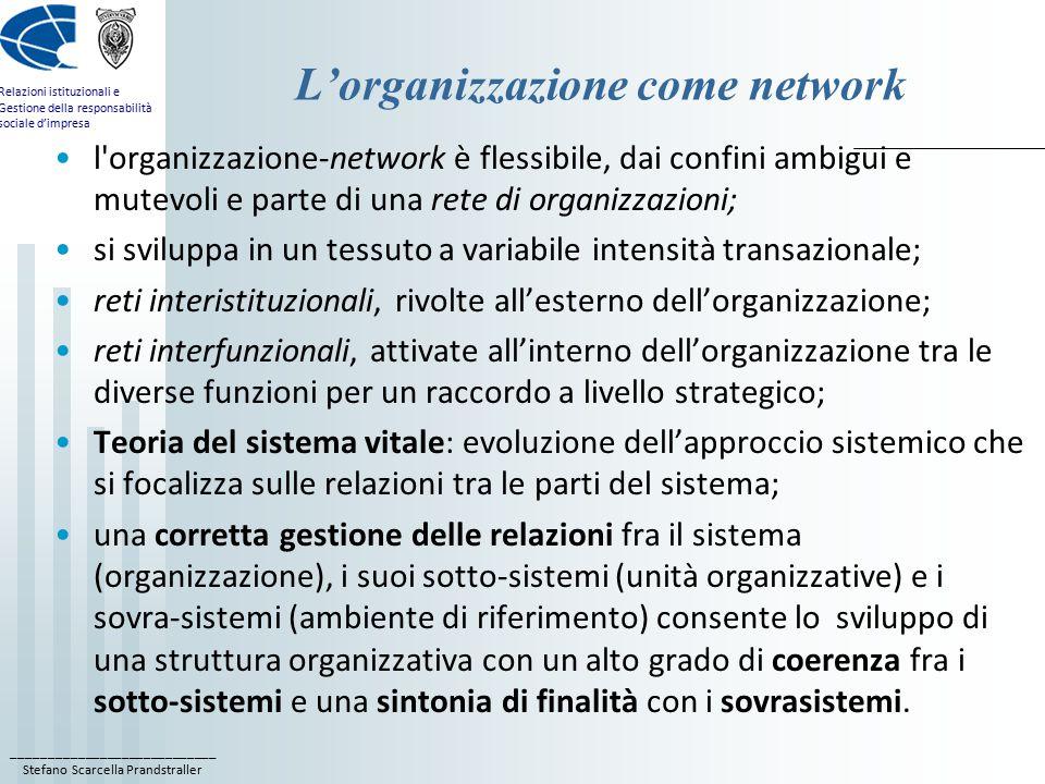 ____________________________ Stefano Scarcella Prandstraller Relazioni istituzionali e Gestione della responsabilità sociale d'impresa L'organizzazione come network l organizzazione-network è flessibile, dai confini ambigui e mutevoli e parte di una rete di organizzazioni; si sviluppa in un tessuto a variabile intensità transazionale; reti interistituzionali, rivolte all'esterno dell'organizzazione; reti interfunzionali, attivate all'interno dell'organizzazione tra le diverse funzioni per un raccordo a livello strategico; Teoria del sistema vitale: evoluzione dell'approccio sistemico che si focalizza sulle relazioni tra le parti del sistema; una corretta gestione delle relazioni fra il sistema (organizzazione), i suoi sotto-sistemi (unità organizzative) e i sovra-sistemi (ambiente di riferimento) consente lo sviluppo di una struttura organizzativa con un alto grado di coerenza fra i sotto-sistemi e una sintonia di finalità con i sovrasistemi.