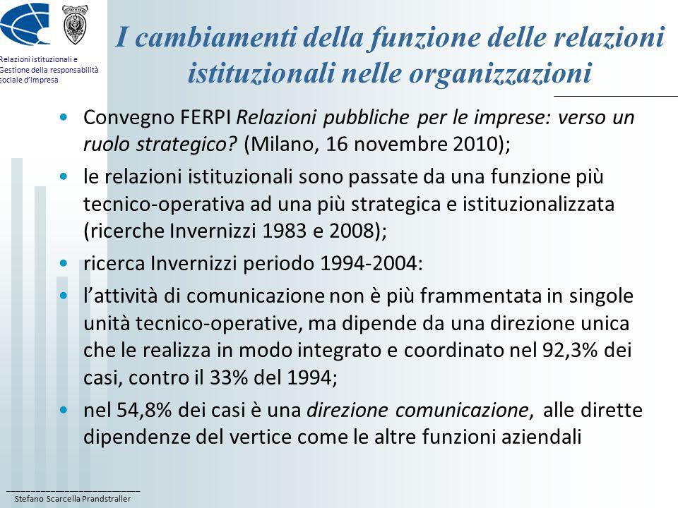 ____________________________ Stefano Scarcella Prandstraller Relazioni istituzionali e Gestione della responsabilità sociale d'impresa I cambiamenti della funzione delle relazioni istituzionali nelle organizzazioni Convegno FERPI Relazioni pubbliche per le imprese: verso un ruolo strategico.