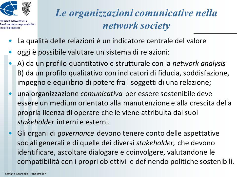 ____________________________ Stefano Scarcella Prandstraller Relazioni istituzionali e Gestione della responsabilità sociale d'impresa Le organizzazio