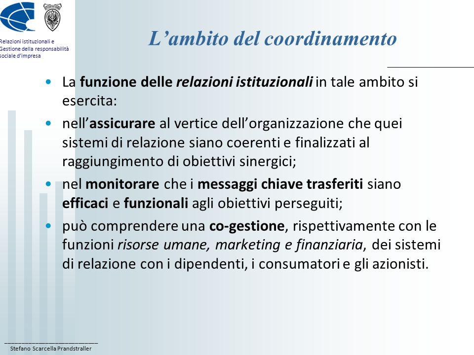 ____________________________ Stefano Scarcella Prandstraller Relazioni istituzionali e Gestione della responsabilità sociale d'impresa L'ambito del coordinamento La funzione delle relazioni istituzionali in tale ambito si esercita: nell'assicurare al vertice dell'organizzazione che quei sistemi di relazione siano coerenti e finalizzati al raggiungimento di obiettivi sinergici; nel monitorare che i messaggi chiave trasferiti siano efficaci e funzionali agli obiettivi perseguiti; può comprendere una co-gestione, rispettivamente con le funzioni risorse umane, marketing e finanziaria, dei sistemi di relazione con i dipendenti, i consumatori e gli azionisti.