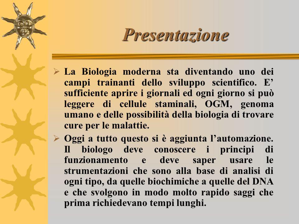 Presentazione  La Biologia moderna sta diventando uno dei campi trainanti dello sviluppo scientifico.