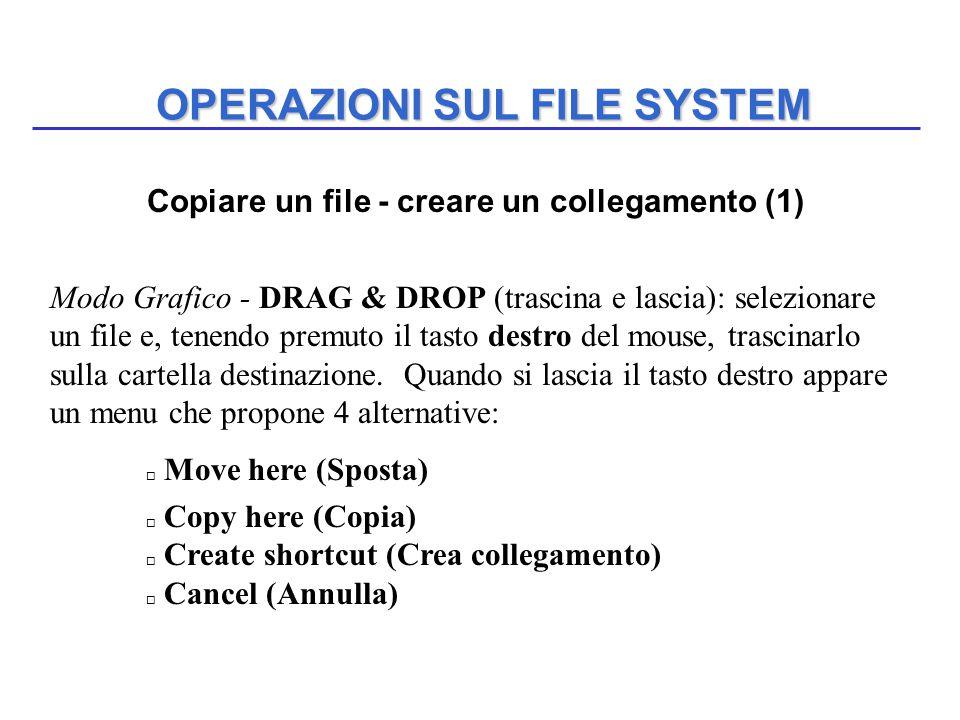 OPERAZIONI SUL FILE SYSTEM Copiare un file - creare un collegamento (1) Modo Grafico - DRAG & DROP (trascina e lascia): selezionare un file e, tenendo