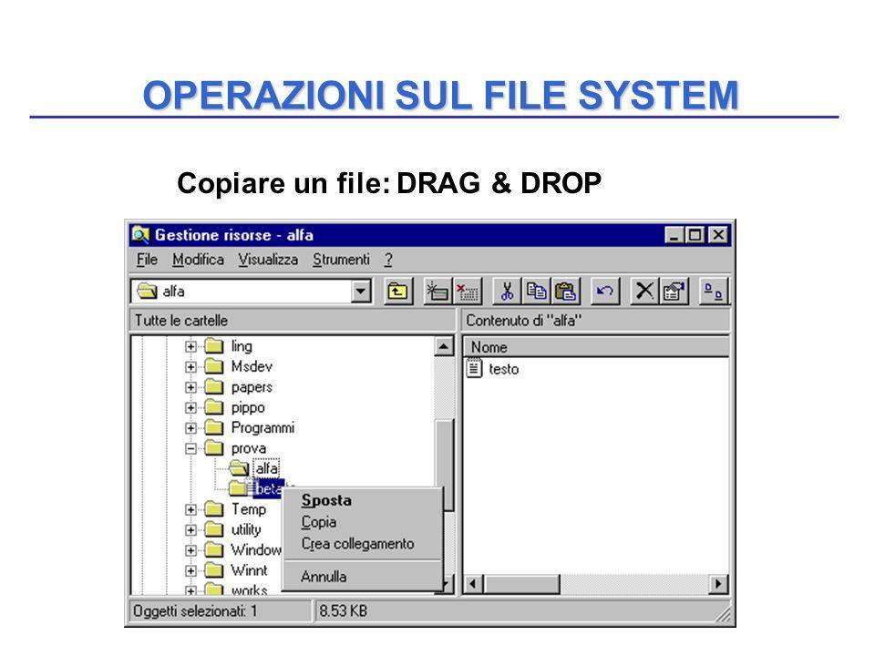 OPERAZIONI SUL FILE SYSTEM Copiare un file: DRAG & DROP