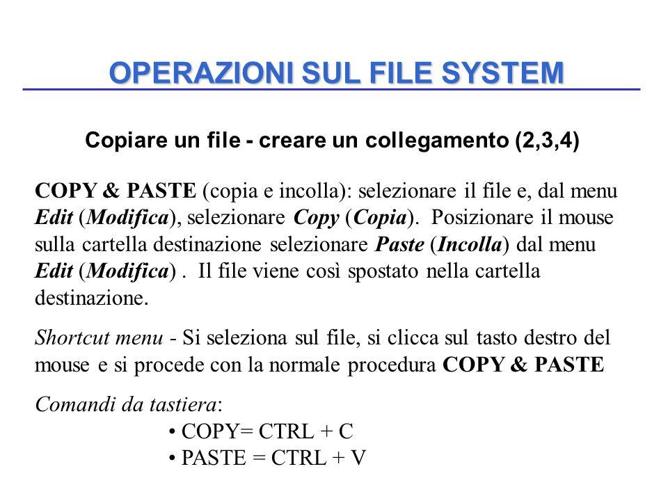 OPERAZIONI SUL FILE SYSTEM COPY & PASTE (copia e incolla): selezionare il file e, dal menu Edit (Modifica), selezionare Copy (Copia). Posizionare il m