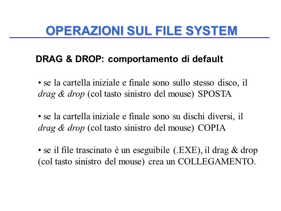 OPERAZIONI SUL FILE SYSTEM DRAG & DROP: comportamento di default se la cartella iniziale e finale sono sullo stesso disco, il drag & drop (col tasto s