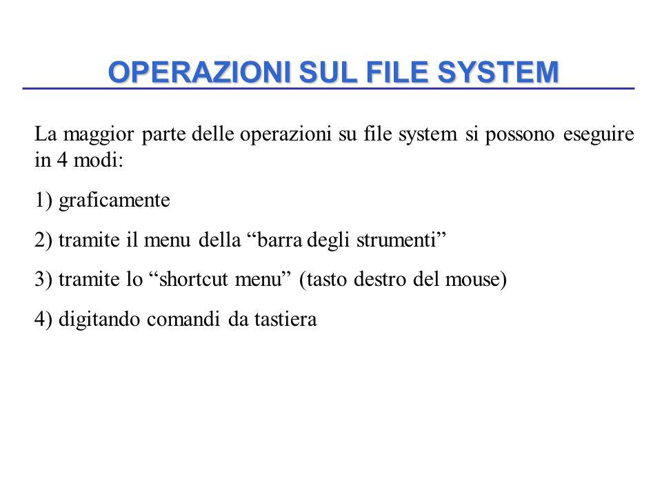 """OPERAZIONI SUL FILE SYSTEM La maggior parte delle operazioni su file system si possono eseguire in 4 modi: 1) graficamente 2) tramite il menu della """"b"""