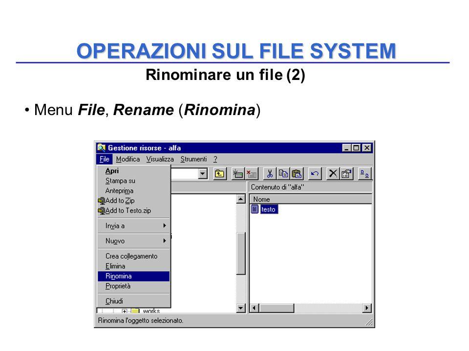 OPERAZIONI SUL FILE SYSTEM Menu File, Rename (Rinomina) Rinominare un file (2)