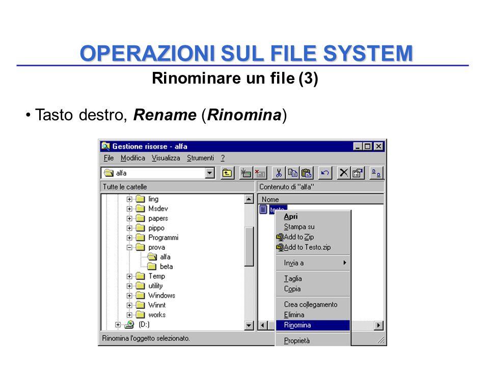 OPERAZIONI SUL FILE SYSTEM Tasto destro, Rename (Rinomina) Rinominare un file (3)