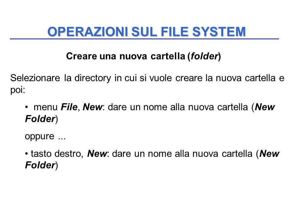 OPERAZIONI SUL FILE SYSTEM Selezionare la directory in cui si vuole creare la nuova cartella e poi: menu File, New: dare un nome alla nuova cartella (