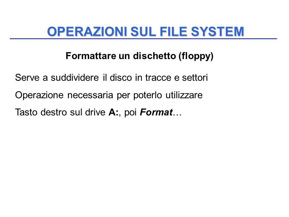 OPERAZIONI SUL FILE SYSTEM Serve a suddividere il disco in tracce e settori Operazione necessaria per poterlo utilizzare Tasto destro sul drive A:, po