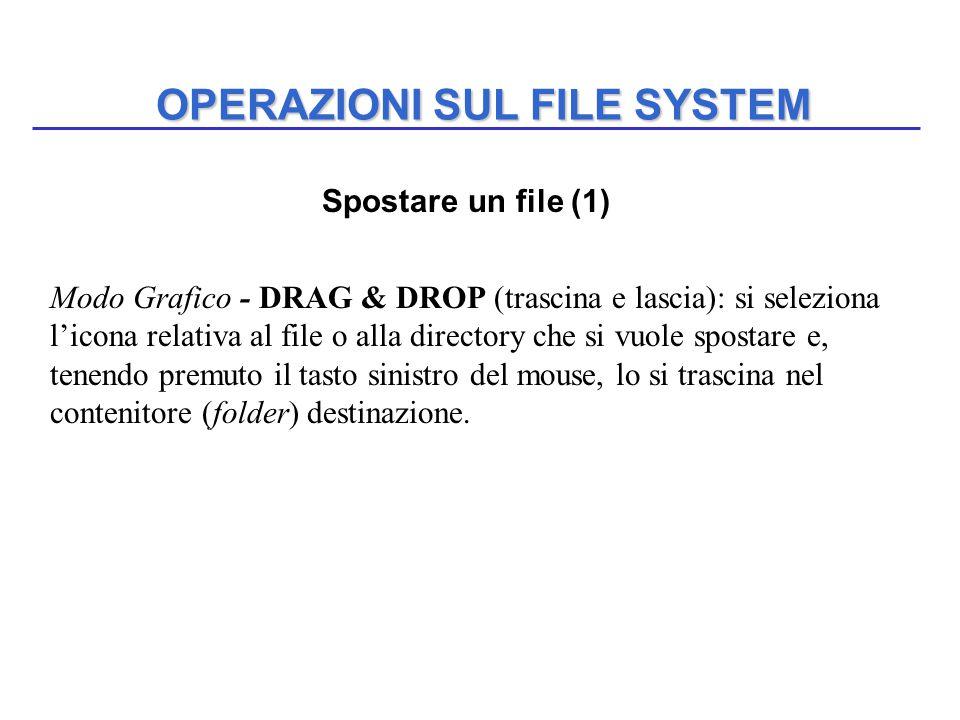 OPERAZIONI SUL FILE SYSTEM Spostare un file (1) Modo Grafico - DRAG & DROP (trascina e lascia): si seleziona l'icona relativa al file o alla directory