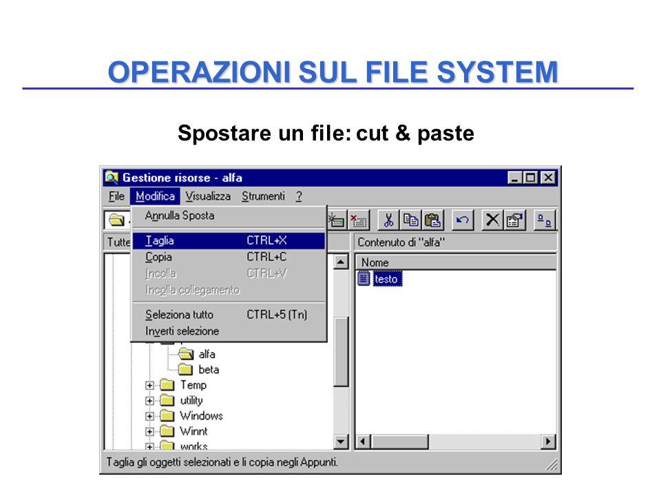 OPERAZIONI SUL FILE SYSTEM Spostare un file: cut & paste