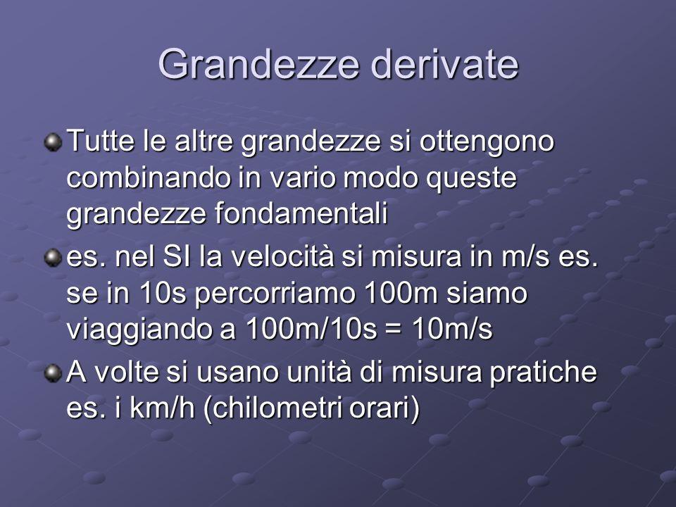 Grandezze derivate Tutte le altre grandezze si ottengono combinando in vario modo queste grandezze fondamentali es. nel SI la velocità si misura in m/