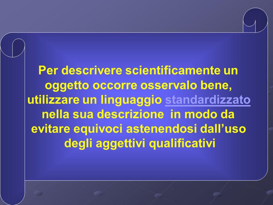 Per descrivere scientificamente un oggetto occorre osservalo bene, utilizzare un linguaggio standardizzato nella sua descrizione in modo da evitare eq
