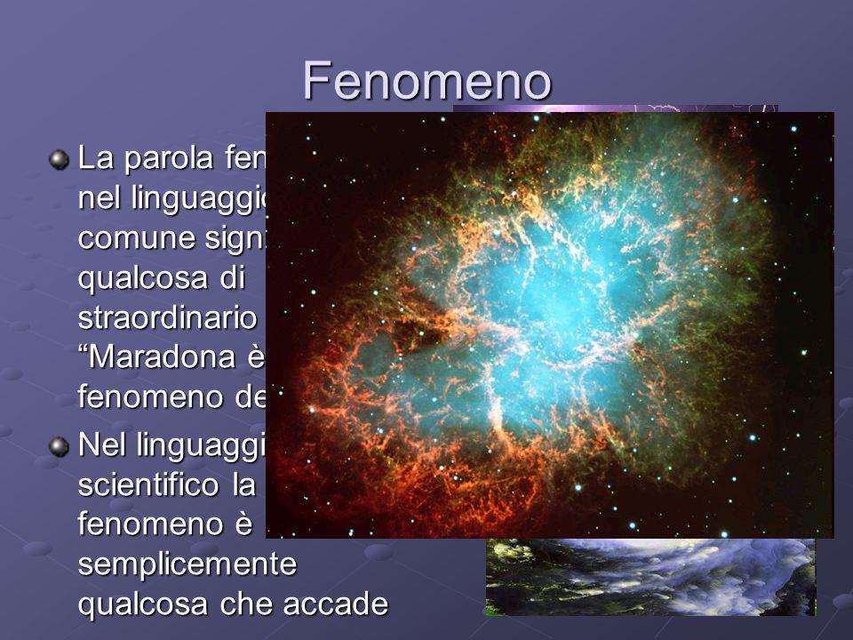 """Fenomeno La parola fenomeno nel linguaggio comune significa qualcosa di straordinario """"Maradona è stato un fenomeno del calcio"""" Nel linguaggio scienti"""