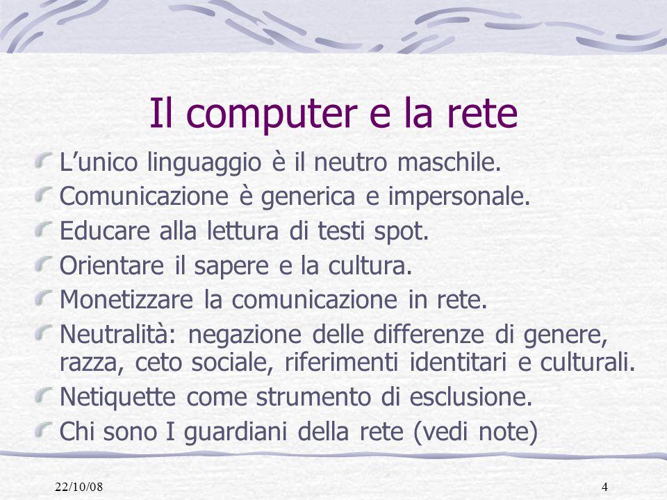 22/10/084 Il computer e la rete L'unico linguaggio è il neutro maschile.