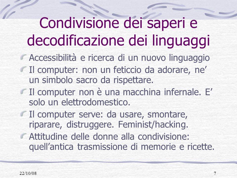22/10/087 Condivisione dei saperi e decodificazione dei linguaggi Accessibilità e ricerca di un nuovo linguaggio Il computer: non un feticcio da adorare, ne' un simbolo sacro da rispettare.