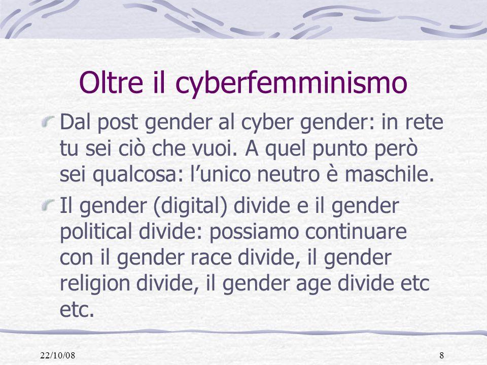 22/10/088 Oltre il cyberfemminismo Dal post gender al cyber gender: in rete tu sei ciò che vuoi.