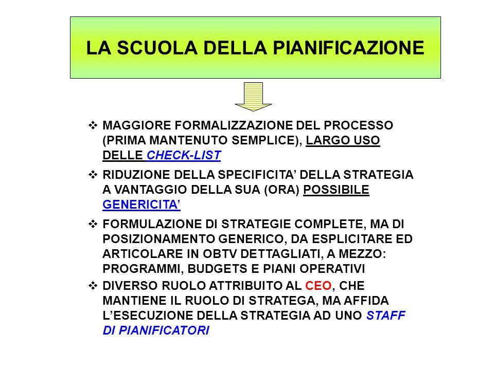 LA SCUOLA DELLA PIANIFICAZIONE  MAGGIORE FORMALIZZAZIONE DEL PROCESSO (PRIMA MANTENUTO SEMPLICE), LARGO USO DELLE CHECK-LIST  RIDUZIONE DELLA SPECIFICITA' DELLA STRATEGIA A VANTAGGIO DELLA SUA (ORA) POSSIBILE GENERICITA'  FORMULAZIONE DI STRATEGIE COMPLETE, MA DI POSIZIONAMENTO GENERICO, DA ESPLICITARE ED ARTICOLARE IN OBTV DETTAGLIATI, A MEZZO: PROGRAMMI, BUDGETS E PIANI OPERATIVI  DIVERSO RUOLO ATTRIBUITO AL CEO, CHE MANTIENE IL RUOLO DI STRATEGA, MA AFFIDA L'ESECUZIONE DELLA STRATEGIA AD UNO STAFF DI PIANIFICATORI