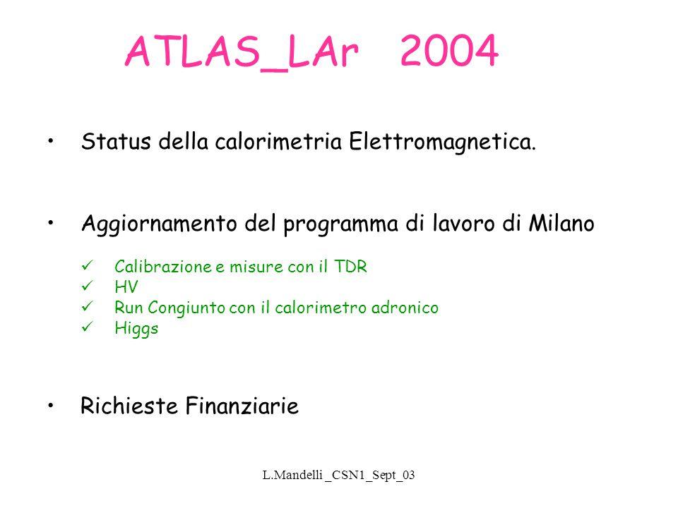 L.Mandelli _CSN1_Sept_03 ATLAS_LAr 2004 Status della calorimetria Elettromagnetica.