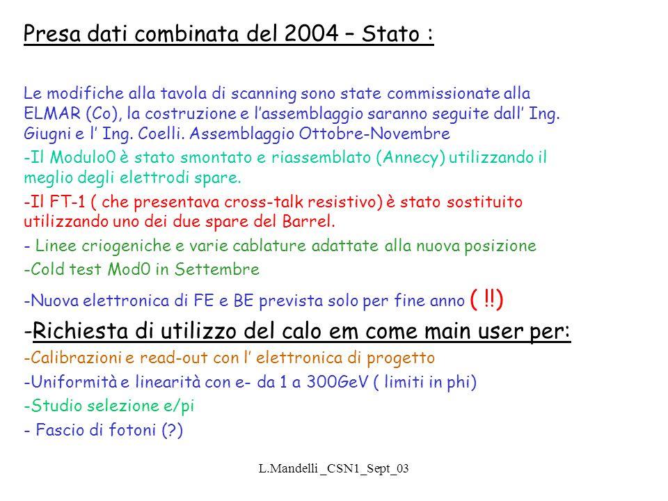 L.Mandelli _CSN1_Sept_03 Presa dati combinata del 2004 – Stato : Le modifiche alla tavola di scanning sono state commissionate alla ELMAR (Co), la costruzione e l'assemblaggio saranno seguite dall' Ing.