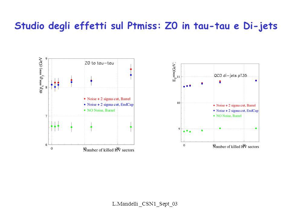 L.Mandelli _CSN1_Sept_03 Studio degli effetti sul Ptmiss: Z0 in tau-tau e Di-jets