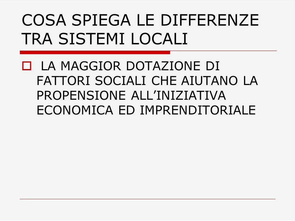 LE SPIEGAZIONI SOCIOLOGICHE  LA DOTAZIONE PIU' MENO SIGNIFICATIVA DI 'CAPITALE SOCIALE' (COLEMAN)  LA PRESENZA DI DOSI RILEVANTI DI 'CIVIC CULTURE' (PUTNAM)  L'ESISTENZA DI UNA PREESISTENTE CAPACITA' DI ORGANIZZARE I MEZZI PRODUTTIVI (PACI)