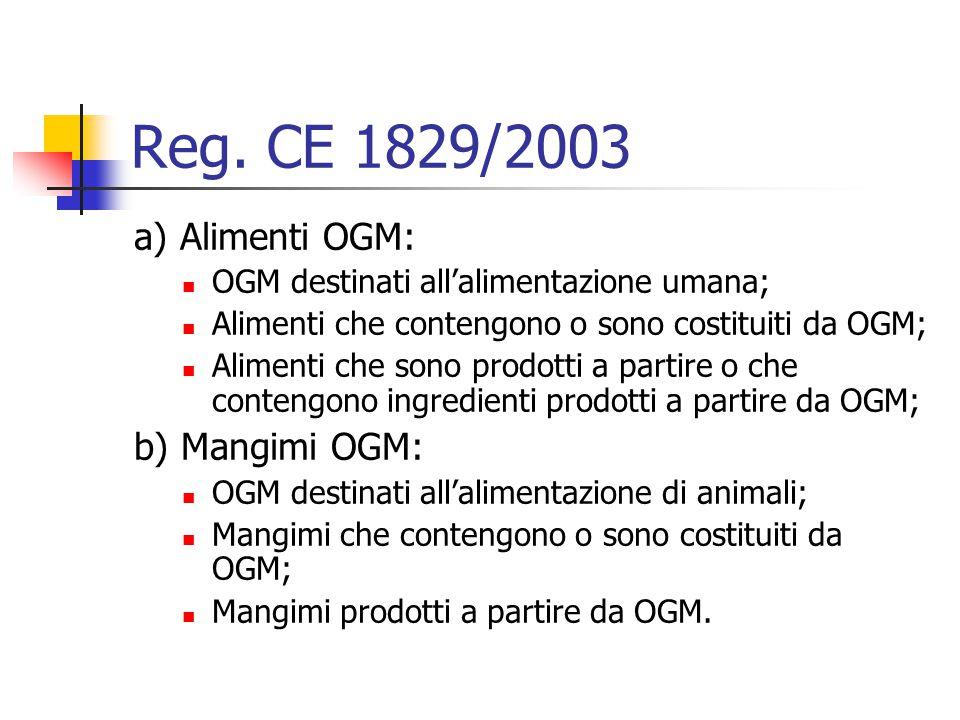 Reg. CE 1829/2003 a) Alimenti OGM: OGM destinati all'alimentazione umana; Alimenti che contengono o sono costituiti da OGM; Alimenti che sono prodotti