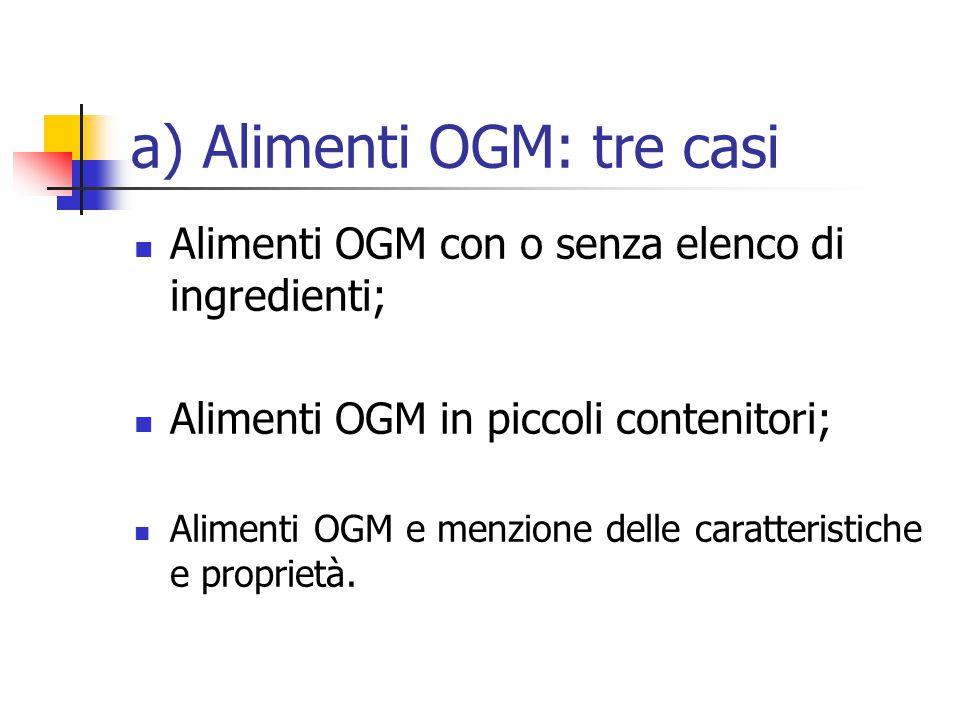 a) Alimenti OGM: tre casi Alimenti OGM con o senza elenco di ingredienti; Alimenti OGM in piccoli contenitori; Alimenti OGM e menzione delle caratteristiche e proprietà.