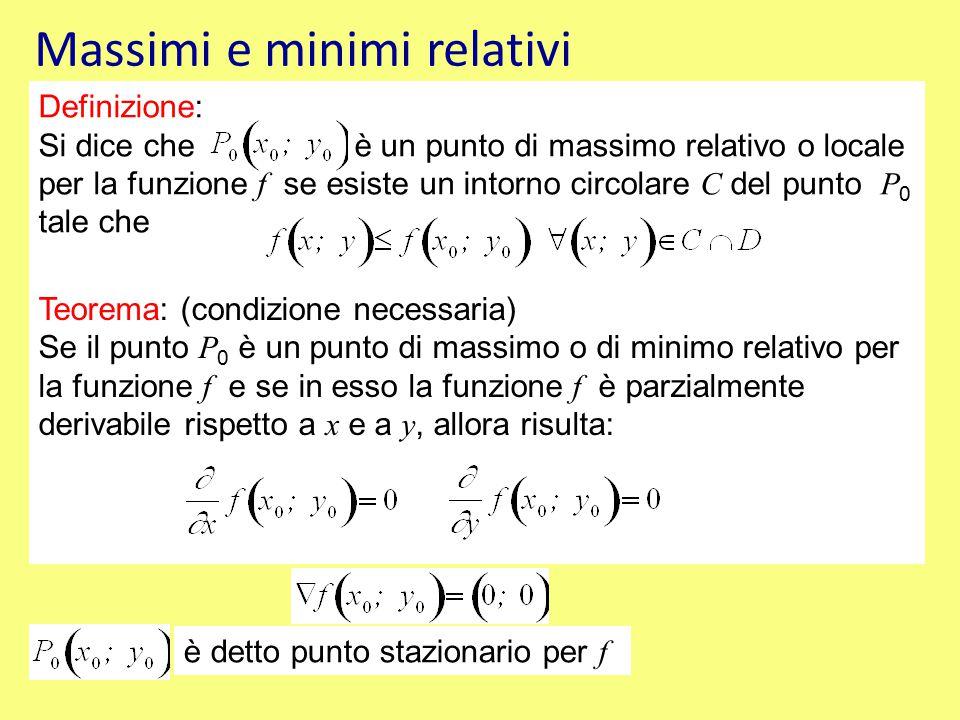 Definizione: Si dice che è un punto di massimo relativo o locale per la funzione f se esiste un intorno circolare C del punto P 0 tale che Teorema: (condizione necessaria) Se il punto P 0 è un punto di massimo o di minimo relativo per la funzione f e se in esso la funzione f è parzialmente derivabile rispetto a x e a y, allora risulta: è detto punto stazionario per f Massimi e minimi relativi