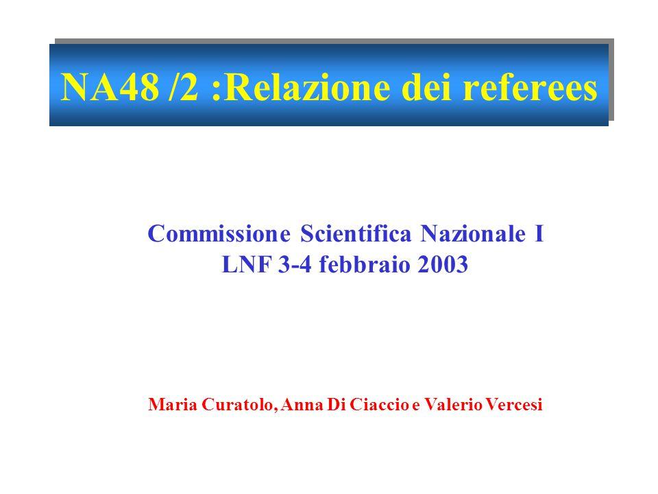 3 febbraio 2003Commissione Scientifica Nazionale I 1 Anna Di Ciaccio NA48 /2 :Relazione dei referees Commissione Scientifica Nazionale I LNF 3-4 febbraio 2003 Maria Curatolo, Anna Di Ciaccio e Valerio Vercesi
