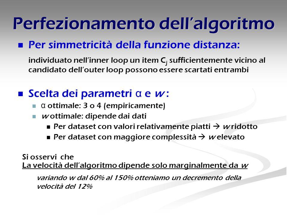 Perfezionamento dell'algoritmo Per simmetricità della funzione distanza: individuato nell'inner loop un item C j sufficientemente vicino al candidato