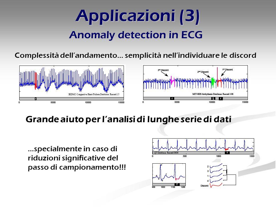 Applicazioni (3) Anomaly detection in ECG Complessità dell'andamento… semplicità nell'individuare le discord …specialmente in caso di riduzioni significative del passo di campionamento!!.